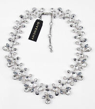 $250 Givenchy Silver Tone CRESCENT Grey Clear Crystal Collar Necklace NEW