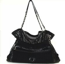 RARE Chanel Black Patent Mesh Chain Madrague Cruise Tote Bag