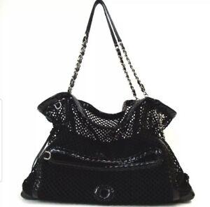 RARE Chanel Black Patent Mesh Chain Madrague Cruise Tote Bag