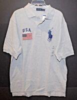 Polo Ralph Lauren Big & Tall Mens Gray USA Flag Big Pony Polo Shirt NWT $125 XLT