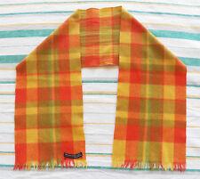 Mens Womens Vintage 100% pure merino wool handwoven scarf multi check plaid
