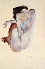 Egon Schiele Reproductions: Crouching Nude in Shoes & Stockings - Fine Art Print