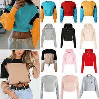 Women Long Sleeve Hoodie Crop Pullover Coat Tops Sweatshirt Casual Sport Jumper