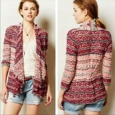 Anthropologie MOTH - Open Knit Shaggy Fringe Cardigan Sweater - Pink Sz S/P