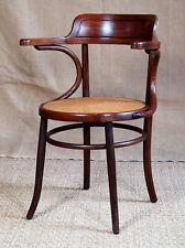 Fauteuil bureau en bois courbé années 30, canné, style bistrot no thonet baumann