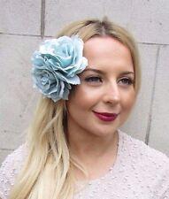 Large Teal Blue Turquoise Rose Flower Hair Clip Rockabilly 1950s Vintage 2701