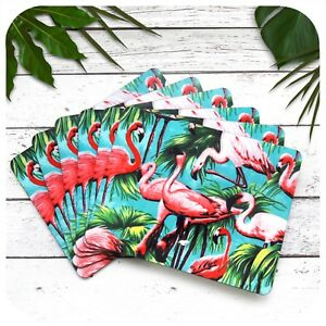 Pink Flamingo Placemats Set of 6, Tropical Table Mats, Tropical Home Decor