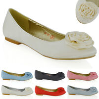 Womens Bridal Shoes Satin Flower Ladies Wedding Bridesmaid Slip On Ballet Pumps