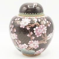 Vintage Brass & Enamel Ginger Jar Vase