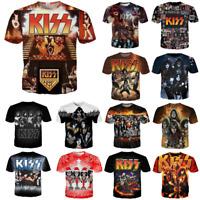 New Men's Women's KISS Band Series Player 3D Print Casual T-Shirt Short Sleeve