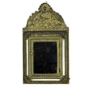 Vintage mirror Brush Brass Glass Cabinet Continental Ornate Brushes Included