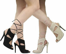 Lace-up Stiletto Bridal or Wedding Heels for Women