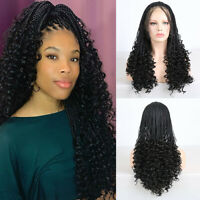 Long Braided Curly Black Hair Synthetic Lace Front Wig for Women Box Braids Hair
