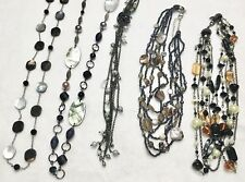 "Lia Sophia Abalone, Cut Crystals, 20""-41""Long Gun Metal Tone Necklaces Lot Of 5"