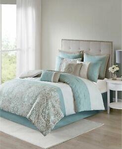 510 Design Shawnee 8 Pc. Geometric Paisley Comforter Set - CALIFORNIA KING  Blue
