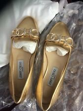 womens Jimmy Choo shoes flats metallic gold with rhinestone CHOO 36.5 or 6.5 NEW