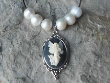 GUARDIAN ANGEL CAMEO PENDANT NECKLACE W/ GENUINE FRESHWATER PEARLS, RELIGIOUS