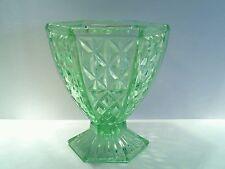 Green Depression Vasaline Glass Footed Urn Style Vase