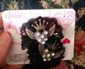 New nwt Claires black lace rhinestone heart hair barrette clips set ❤