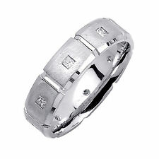 0.25Carat Genuine Diamond Men's Wedding Rings Size W Solid 14Kt White Gold Band