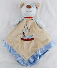 MARY MEYER Sleeping Puppy Dog ZZZZ Blue Striped Lovey Security Blanket