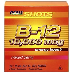 B-12 Shots!, 10,000 mcg, Mixed Berry Flavour, 12 Shots, Energy Supplement