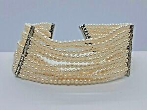 Vintage Multi Strand Quality Simulated Pearl Choker