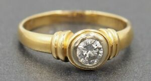 Solitaire Diamond Womens Ring 18ct Yellow Gold Engagement Wedding Jewellery