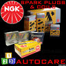 NGK Platinum Spark Plugs & Ignition Coil Set BKR6EQUP (3199)x4 & U2073 (48368)x1
