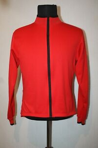 Bellwether USA Bright Red Cycling Jersey Mens M Long Sleeve Waffle Knit Full Zip