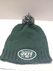 "🏈NFL Team Apparel ""New York Jets"" Womans Beanie Pom Winter Sport Knit Hat C1"