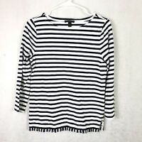 J Crew Women White Navy Top Sz S Striped Boat Neck Mid weight Long Sleeve Shirt