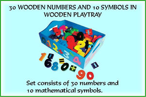 Artiwood - 30 Wooden Numbers and 10 Symbols in Wooded Play Tray