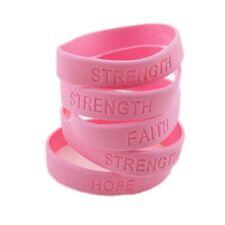 12 pc PINK RIBBON Breast Cancer Awareness Bracelets SURVIVOR HOPE STRENGHT FAITH