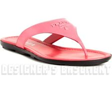 PRADA Fuxia 38 Patent leather CREST LOGO flat Thong sandals NIB Authentic $495!