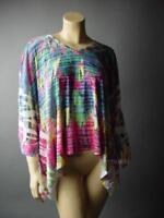Sale Colorful Feather Print Crochet Back 70s Caftan Style Top 74 mv Shirt S M L
