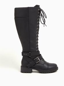 TORRID SZ 11 black Strappy lace up combat knee boot new