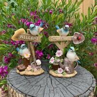 Blue Birds Welcome Garden Sign Bird Statues Garden Decor Sculptures Outdoor
