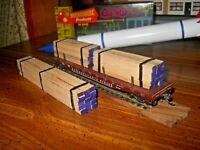 HO Scale Flat Car Lumber Load  Real  Firwood Handmade