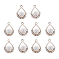 10x Drop Pearl Crystal Charm Pendants for DIY Necklace Jewelry Making CraftS