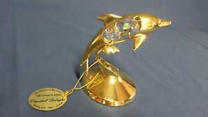 1010M Mascot Crystal Delights 24K Gold Plate Dolphin Figurine w/Crystals & TAGS