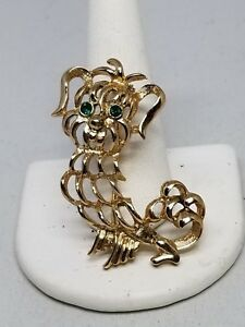 Avon Gold Tone Puppy Pin with Green Eyes