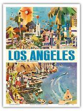 Los Angeles - American Airlines - 1960s Vintage Travel Poster Print