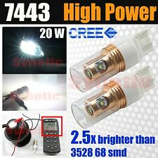 2x 7443 7440 High Power 20W CREE 6000K White Reverse Backup LED Light Bulb