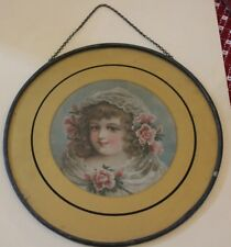 """Vintage Victorian Chimney Flue Cover 8"""" with Chain Young Girl with Roses"""