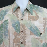 Tori Richard Mens L Blue Green Tan Leaves Tapa Aloha Hawaiian Shirt
