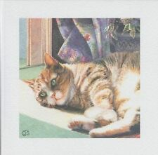 Sunny Days Cute Tabby & White Cat lying Chrissie Snelling greetings card blank