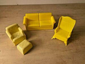 Vintage Marx Plastic Dollhouse Furniture Lot Yellow Chair w Ottoman, Wing, Sofa
