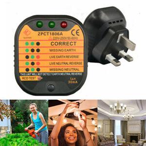 UK Plug Socket Tester Mains Fault Checker Malfunction Detector AC 220-250V Tool