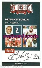 BRANDON BOYKIN - 2012 SENIOR BOWL CARD - GEORGIA BULLDOGS